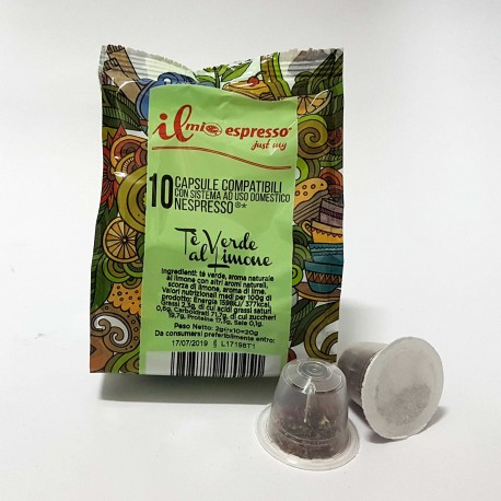 10 Capsule Compatibili Nespresso Tè Verde al Limone in Foglia